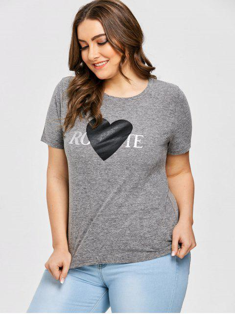 outfit Heart Print Plus Size T-shirt - GRAY 5XL Mobile
