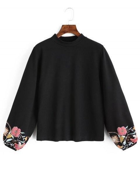 Sudadera floral con manga linterna - Negro L Mobile