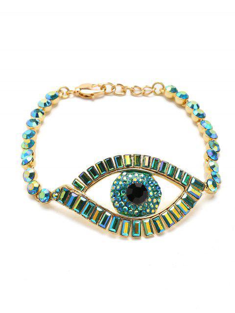 Sparkly Rhinestoned Eye Chain Bracelet - Verde  Mobile