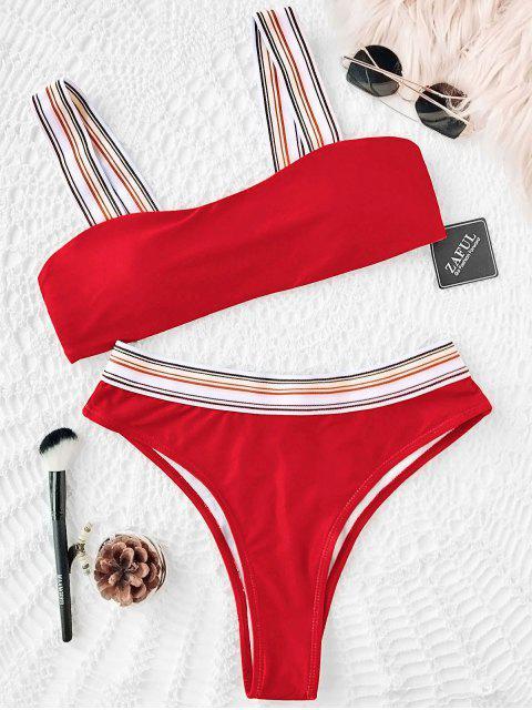 Conjunto de bikini de corte alto con rayas a rayas - rojo Brillante L Mobile