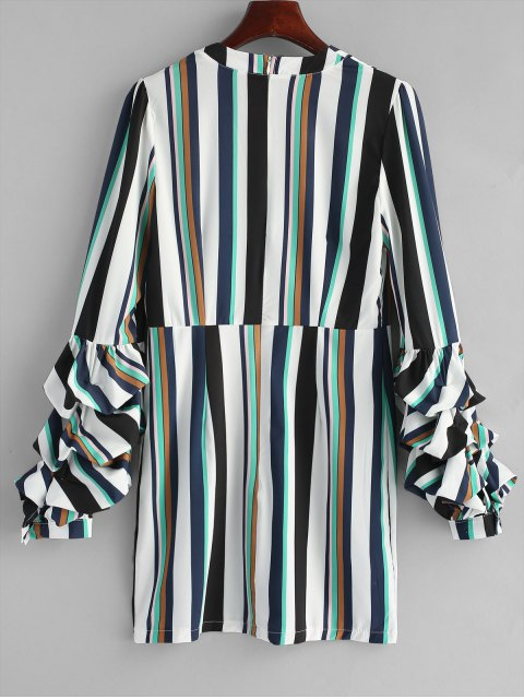 hot Gathered Sleeve Stripes Casual Dress - STRIPE L Mobile