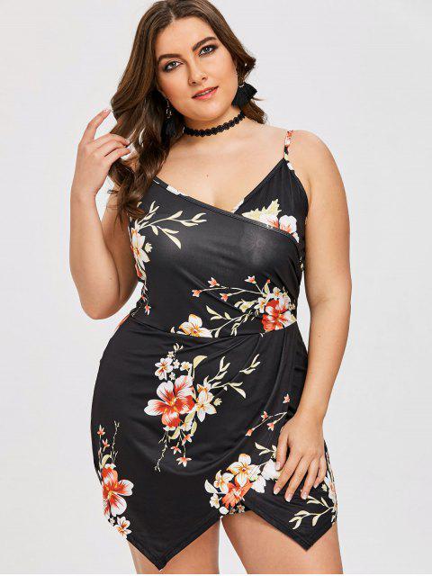 lady Floral Plus Size Skort Romper - BLACK 4XL Mobile