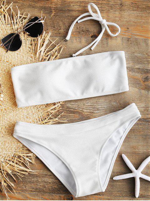 outfits Halter Ribbed Texture Bikini Set - WHITE S Mobile