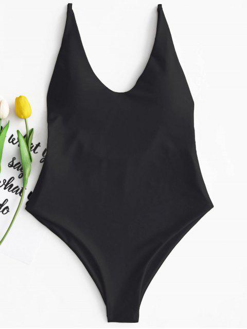 hot Padded One Piece Swimsuit - BLACK L Mobile