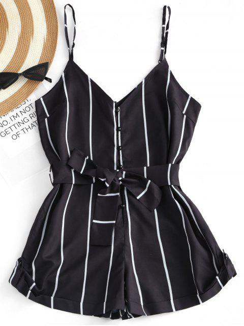women's Striped Belted Cami Romper - BLACK S Mobile