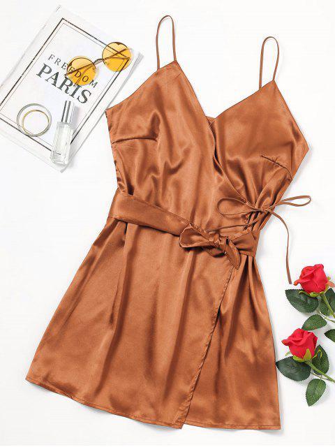 Selbst Riemen Schleife Gürtel Cami Kleid - Golden Brown S Mobile