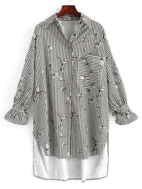 Floral Streifen High Low Shirt Kleid - Streifen  L Mobile