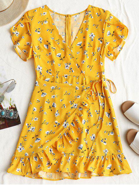 online Plunging Neck Floral Print Ruffles Dress - YELLOW S Mobile