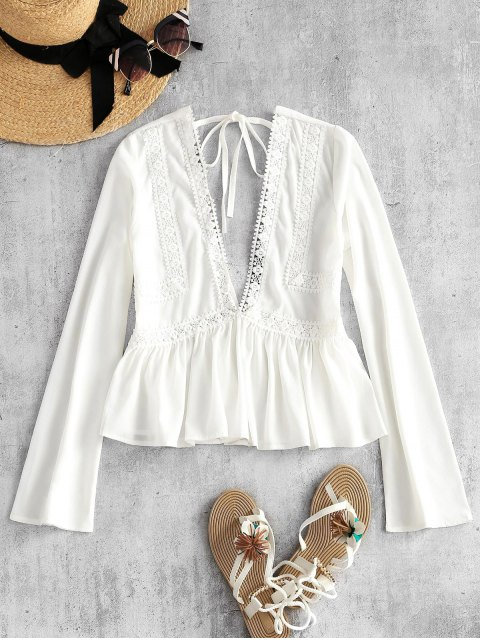 affordable Low Cut Back Self Tie Peplum Top - WHITE L Mobile