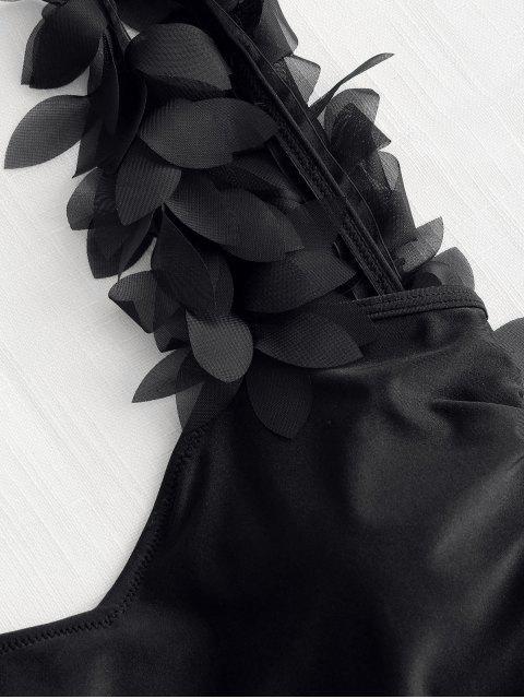 Traje de baño de una pieza de pétalo estéreo - Negro M Mobile