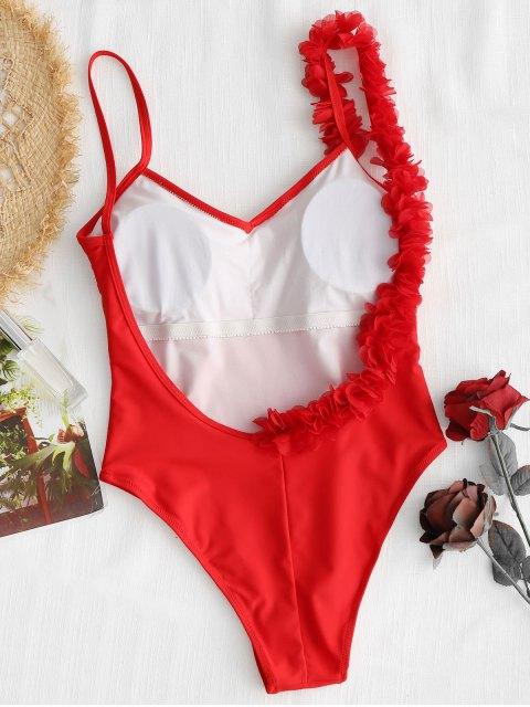 Bañador de una pieza de flor estéreo con espalda baja - Rojo M Mobile