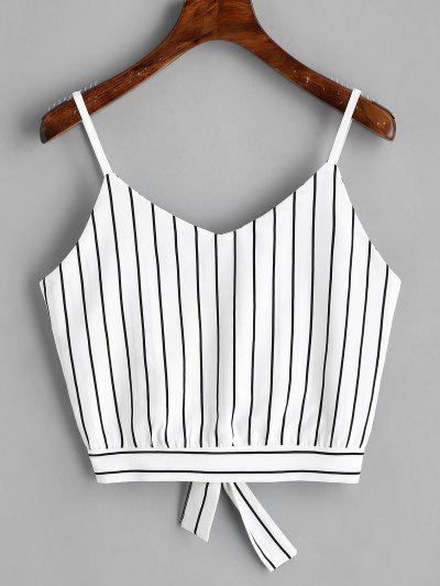 Bowknot Stripes Cut Out Cropped Tank Top - Stripe M
