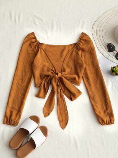 Plunging Neck Tied Bowknot Crop Blouse - Earthy L