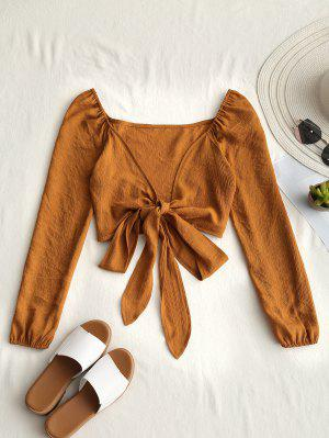 Plunging Neck Tied Bowknot Crop Blouse - Earthy M