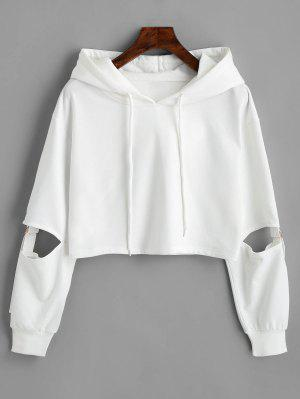 zaful Cut Out Sleeve Crop Hoodie
