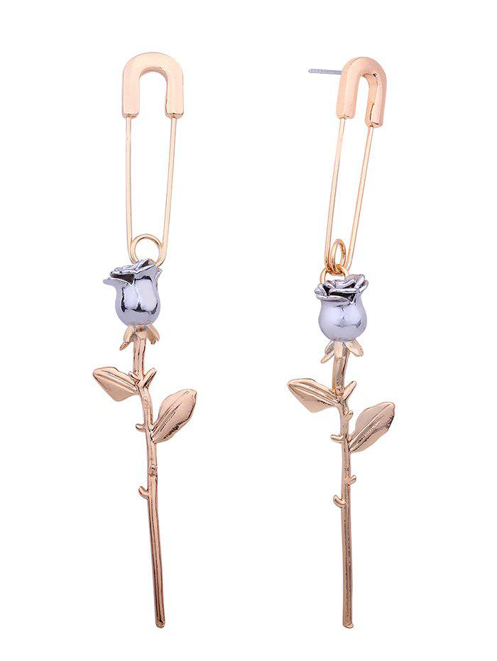 creative rose pin shape stud drop earring