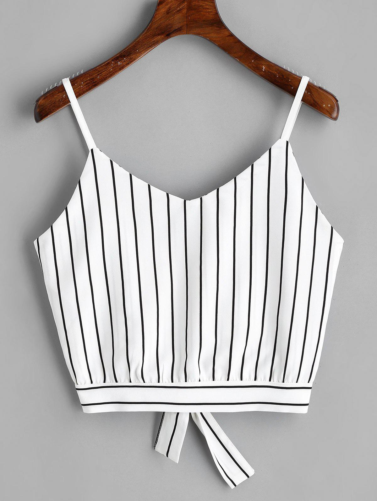 Bowknot Stripes Cut Out Cropped Tank Top