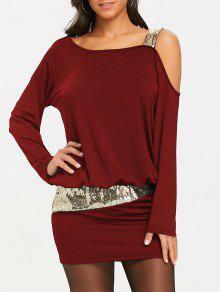 الترتر طويلة الأكمام فستان الكتف بلوزة - عنابي اللون S