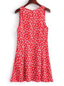 Cross Cremallera Vestido Mini Lateral Rojo Birds Con M Over OUqqv
