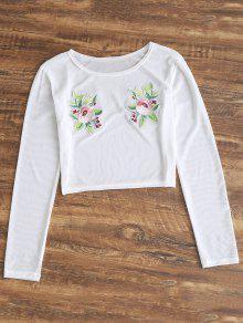 لباس التغطية شبكي شير طباعة الأبليك والأزهار - أبيض S