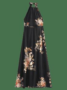 Maxi Negro Vestido Abierta Espalda L Ojal Abertura dxxzqwg