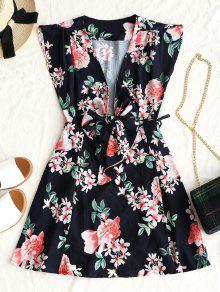 فستان مصغر لف طباعة الأزهار ربطة - أسود M