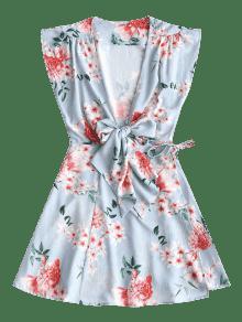 L Floral Azul Atado Vestido Lazo Claro Con Mini PqBwx0Oa