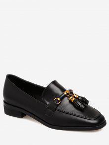 حذاء ذو شكل مربع عند الأصابع مزين بشرابات - أسود 38