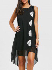 الكروشيه لوحة فلوي فستان الشيفون - أسود S