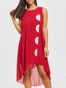 الكروشيه لوحة فلوي فستان الشيفون - نبيذ أحمر S