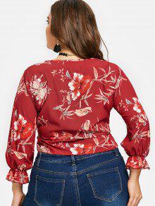 Floral Rojo Blusa Nudo Y Vino Xl Con Floral Estampado 0rwXq0