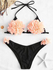 بدلة بيكيني طباعة الأزهار رسن - أسود S