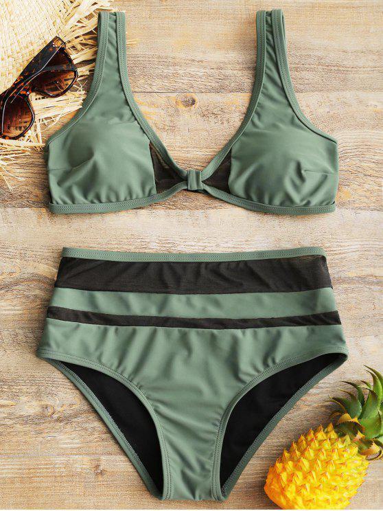 fancy Sheer Mesh Insert High Waisted Bathing Suit - GREEN XL