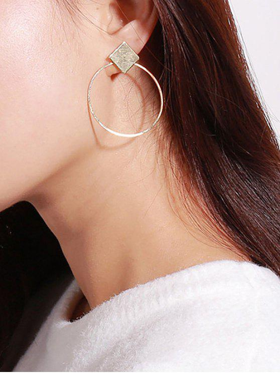 ladies Rhomb Round Shape Hollow Out Drop Earrings - GOLDEN