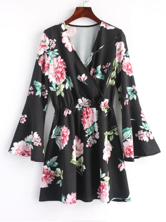 fancy Floral Flared Sleeve Mini Dress - BLACK L