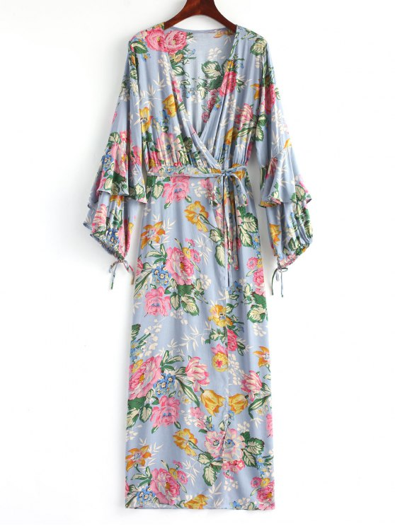affordable Long Sleeve Floral Frilled Wrap Maxi Dress - STONE BLUE L