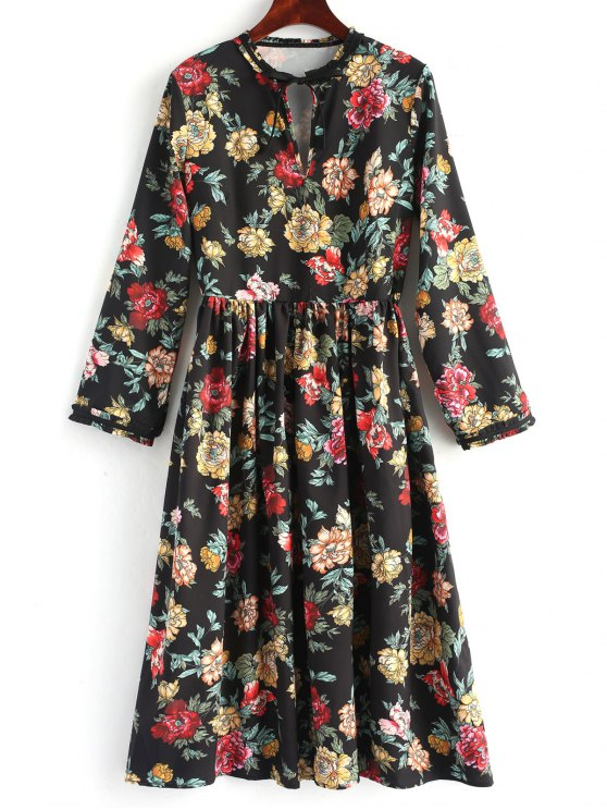 Long Sleeve Floral Cut Out Vestido Midi - Floral S