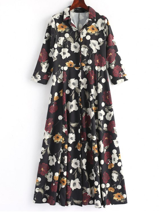Button Up Blumenhemd Maxikleid - Blumen L