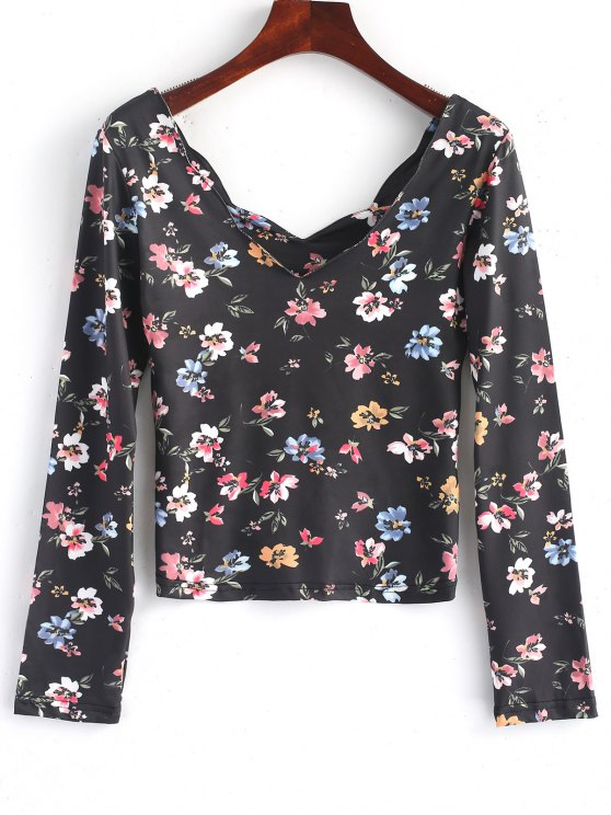 ladies Scalloped Long Sleeve Floral Top - FLORAL L