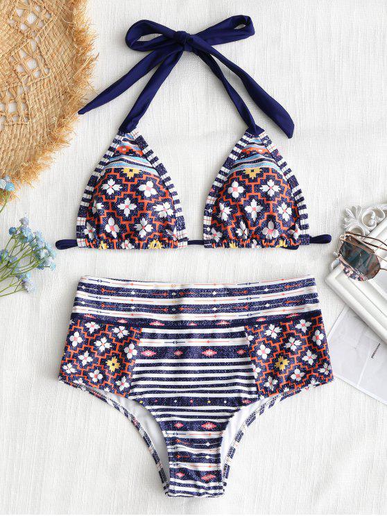 fancy Halter Patchwork Print High Waisted Bikini Set - COLORMIX L