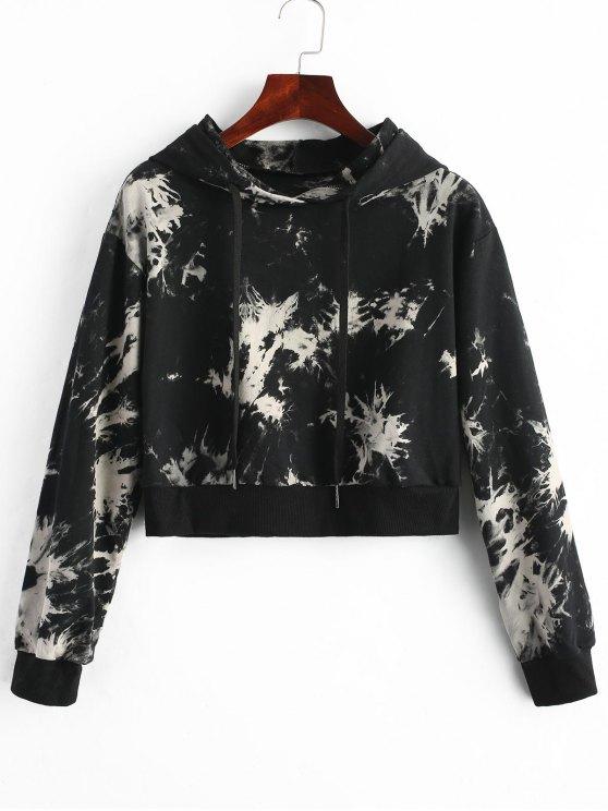 trendy Tie Dye Cropped Hoodie - BLACK XL