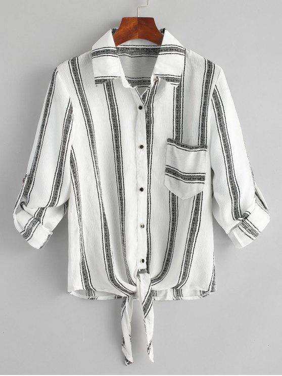 Chemise Rayée à Noeud à Poche - Blanc XL