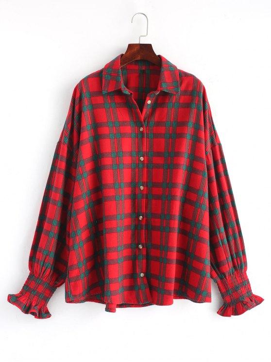 Smoked Sleeve übergroßes kariertes Hemd - Rot Eine Größe