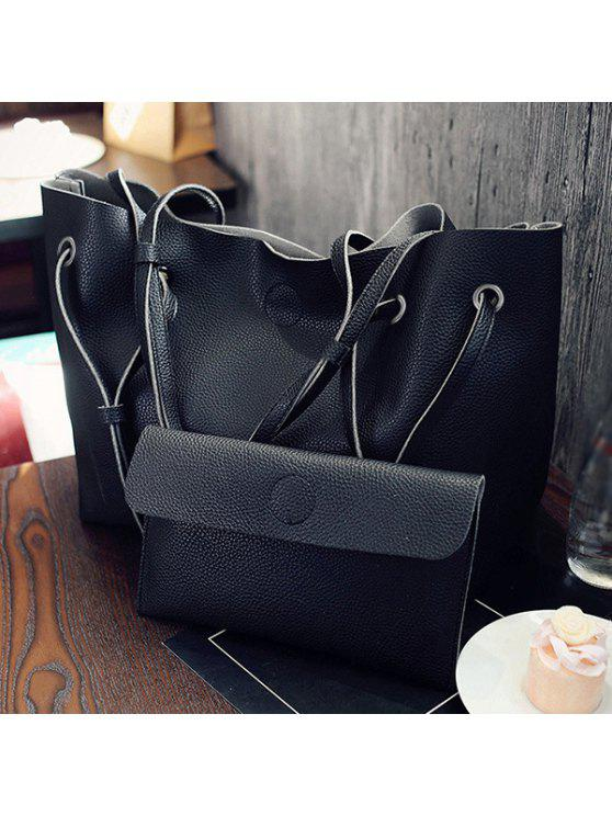 fancy Magnetic Textured Leather Shoulder Bag - BLACK