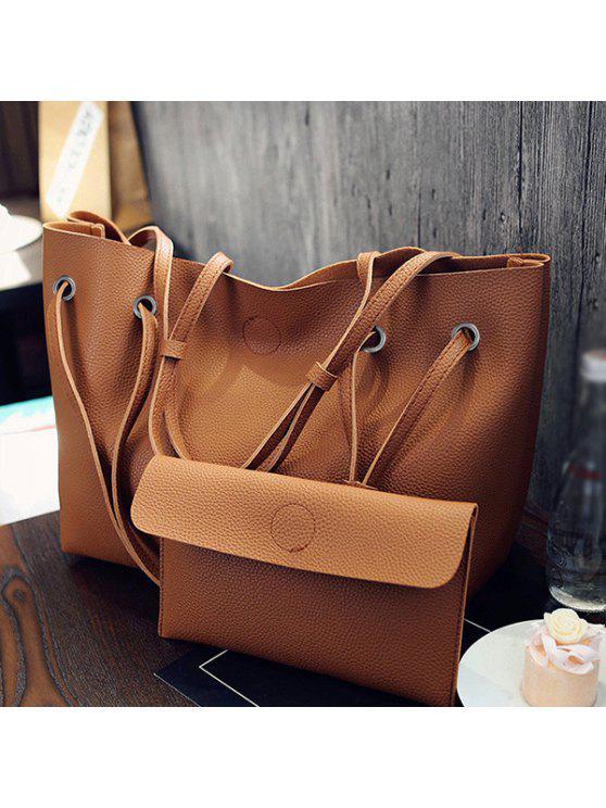fashion Magnetic Textured Leather Shoulder Bag - BROWN