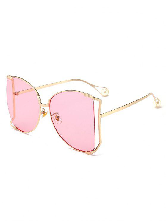 hot Cut Out Lens Oversized Square Sunglasses - PINK