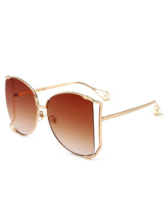 Cut Out Lens übergroße quadratische Sonnenbrille - Dunkelbraun