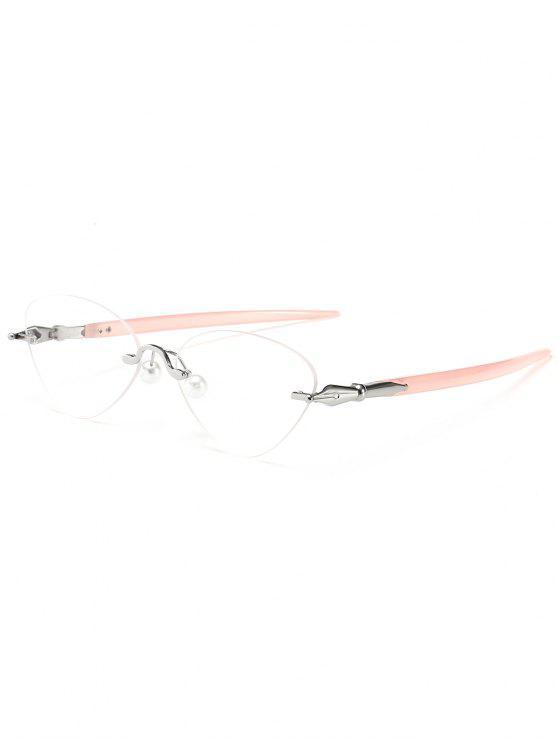 trendy Rimless Cat Eye Sunglasses - PINK AND WHITE