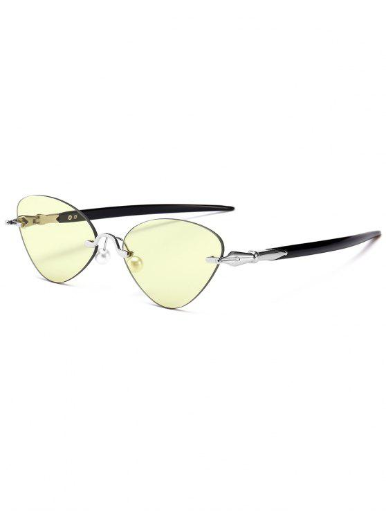 fashion Rimless Cat Eye Sunglasses - LIGHT YELLOW