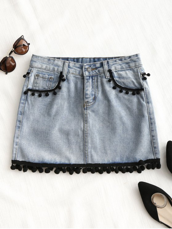 Crochet Trim Mini Denim Skirt - Jeans Azul L